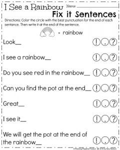 March Kindergarten Worksheets - Rainbow Fix it Sentences