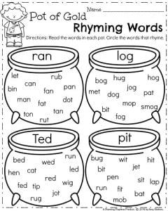 ... rhyming words pot of gold rhyming words find the pairs sight words