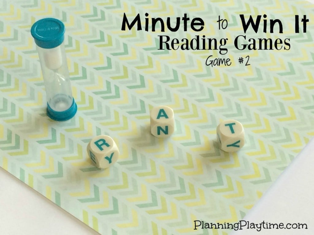 Minute to Win It Reading Games with Boggle pieces to make CVC words.