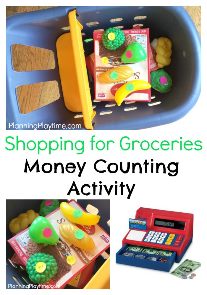 Fun Money Counting Activities for kids - Shopping for Groceries