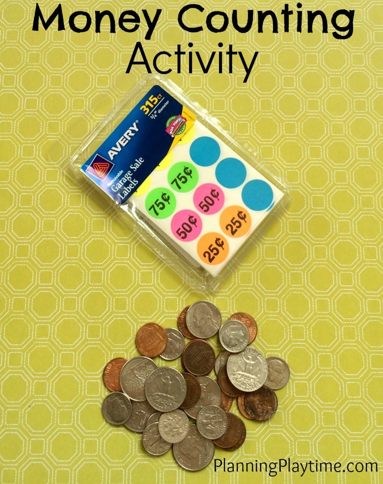 Money Counting Activity with garage sale labels.