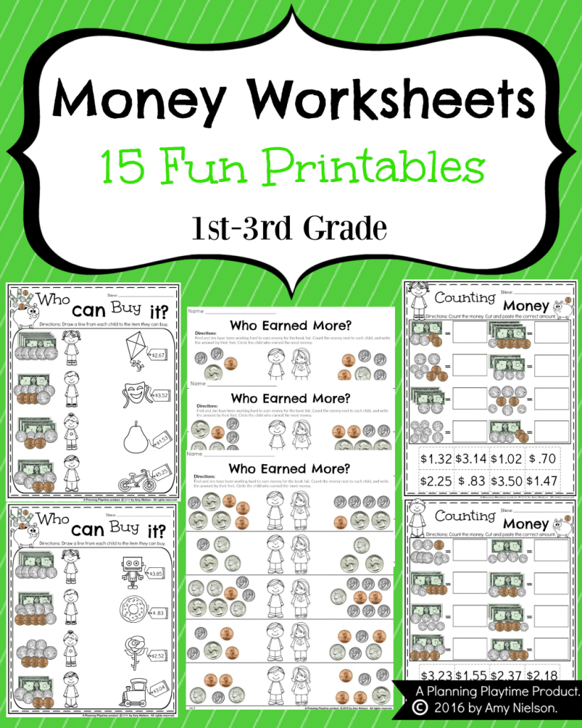 worksheet Money Worksheets First Grade money worksheets for 2nd grade planning playtime grade