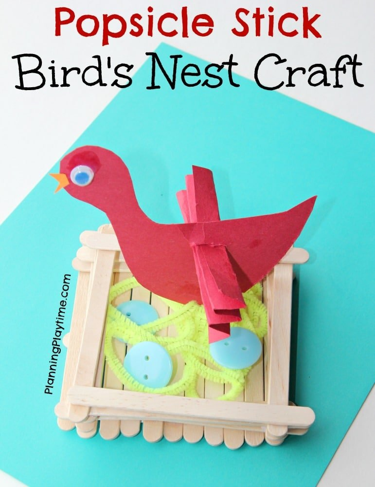 Popsicle Stick Bird's Nest Craft for kids with button eggs.