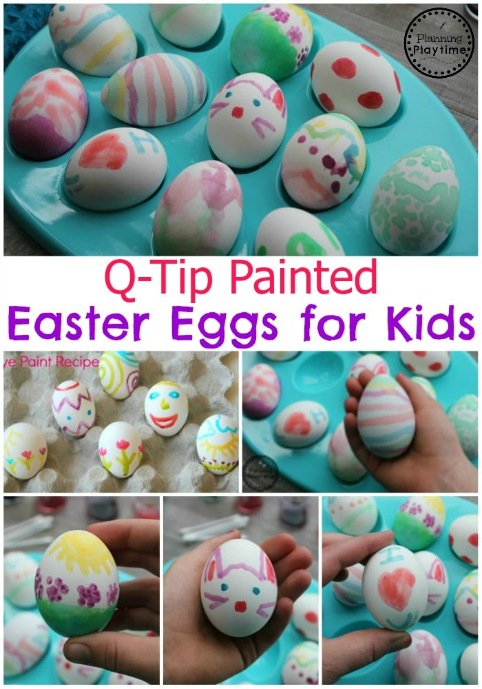 Q-Tip Painted Easter Eggs with 2 Ingredient Dye Paint #easter #eastereggs