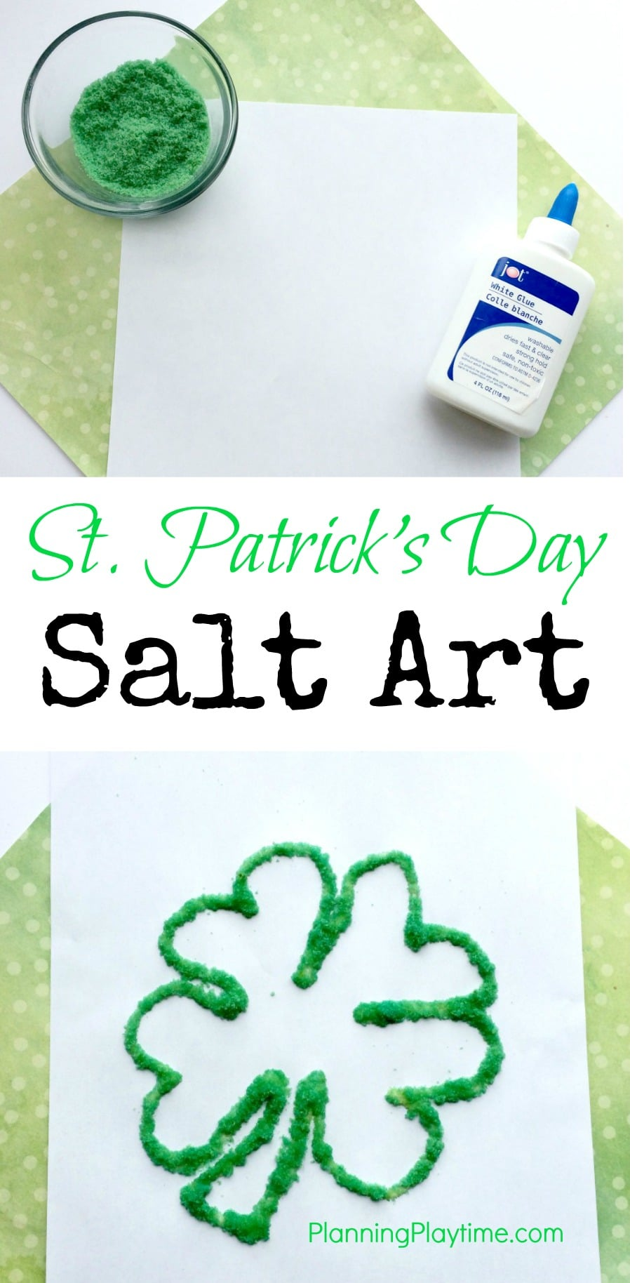 Shamrock Salt Art for St. Patrick's Day