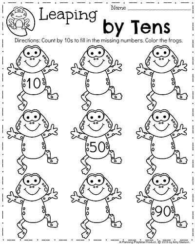 Spring math addition worksheets for kindergarten