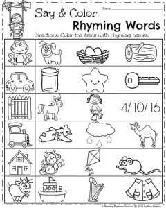 math worksheet : spring kindergarten worksheets  planning playtime : Rhyming Worksheets Kindergarten