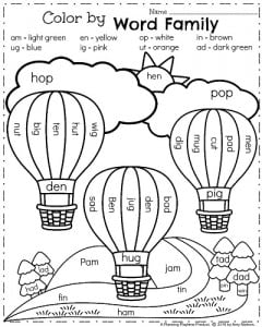 Spring Kindergarten Worksheets for April - Color by Word Families