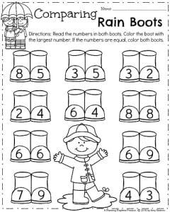 spring kindergarten worksheets  planning playtime  spring kindergarten worksheets for april  comparing numbers rain boots