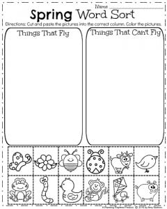 Spring Kindergarten Worksheets for April - Sorting Words into Categories.