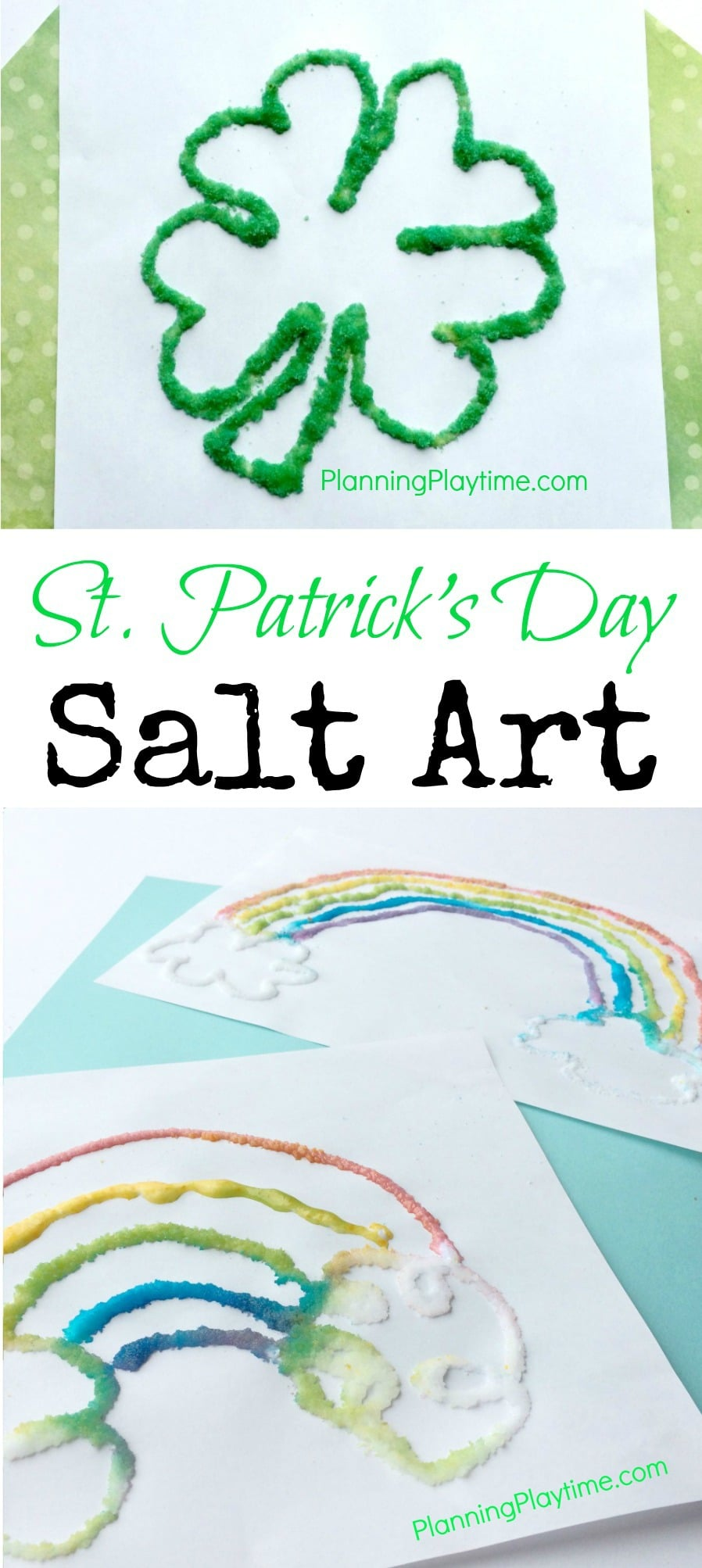 St. Patrick's Day Salt Art For kids
