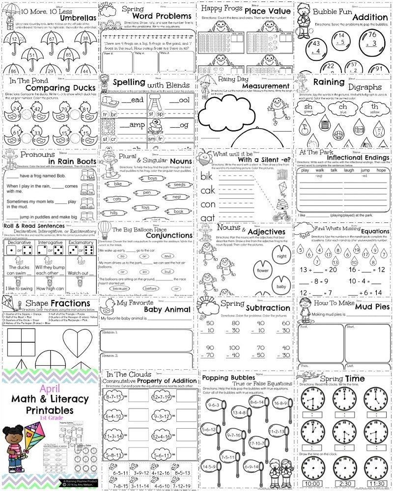 First Grade Worksheets for Spring - So many fun math and literacy activities.