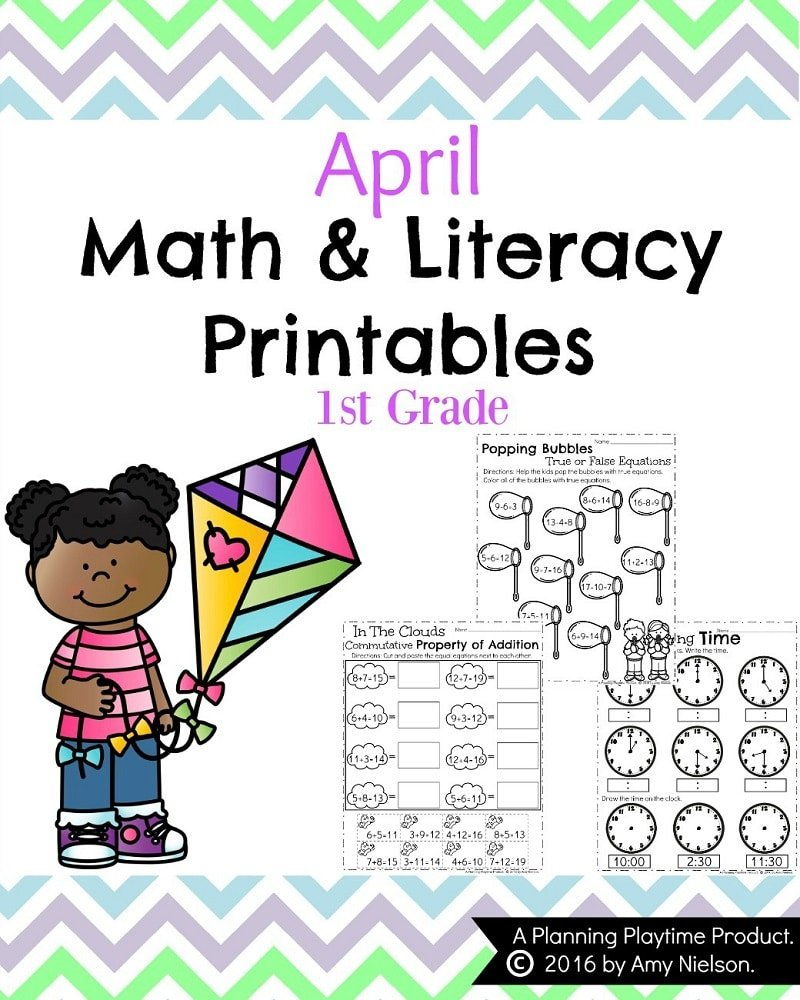 First Grade Worksheets for Spring. Lots of math and literacy fun!