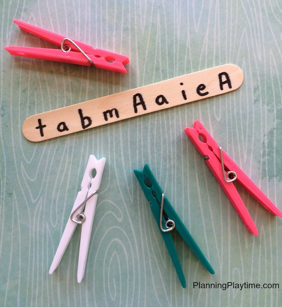 Clothes Pin Letter Recognition Activity for Kids