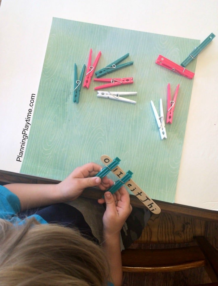 Clothes Pin Letter Recognition Activity for Preschool.