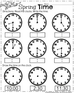 First Grade Clock Worksheets - Spring Math Worksheets for April.
