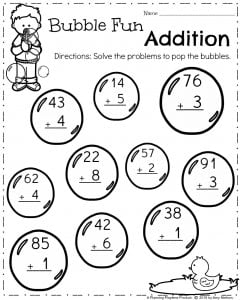 First Grade Math Worksheets for Spring - Addition 2 Digits plus 1 digit.