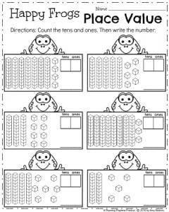First Grade Math Worksheets for Spring - Place Value