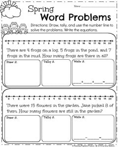 math worksheet : first grade worksheets for spring  planning playtime : First Grade Math Word Problems Printable Worksheets