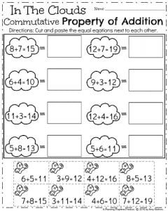 First Grade Spring Worksheets - Commutative Property of Addition.