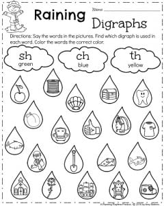 First Grade Spring Worksheets - Raining Digraphs