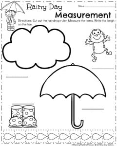 First Grade Spring Worksheets - Rainy Day Measurement for April.