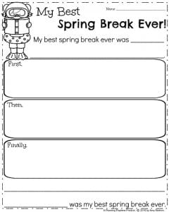 First Grade Writing Prompts for Spring - Narrative Writing.