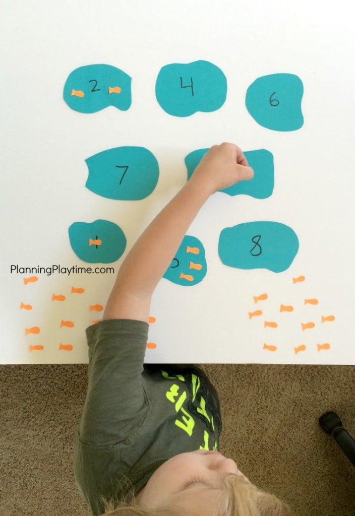 Goldfish Counting Activity - Place the correct number of goldfish in the pond.