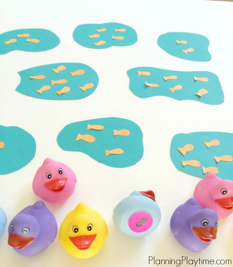 Goldfish Counting Activity - Put the rubber duck in the correct pond.