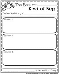 March Writing Prompt - Opinion Organizer The Best Kind of Bug