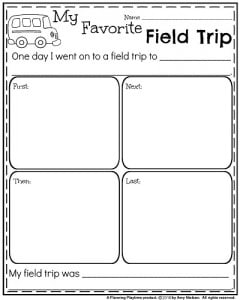 Narrative Writing Organizer My Favorite Field Trip