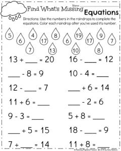 Spring First Grade Worksheets - Fill in the missing number equations.