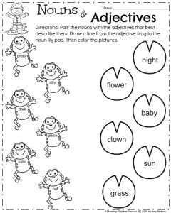 Spring First Grade Worksheets - Nouns and Adjectives