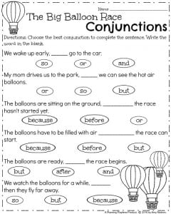 Spring First Grade Worksheets - The Big Balloon Race Conjunctions.