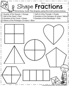 Spring Math Worksheets for First Grade - Geometry Shape Fractions