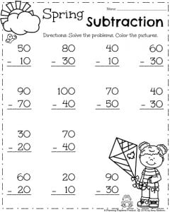 Spring Math Worksheets for First Grade - Spring Subtraction.