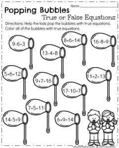 Spring Math Worksheets for First Grade - True and False Equations
