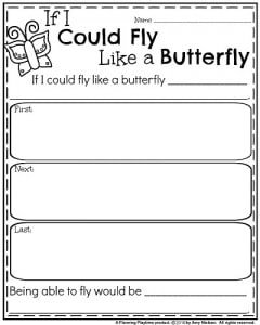 Spring Writing Prompts - Narrative Writing Organizer If I Could Fly Like a Butterfly
