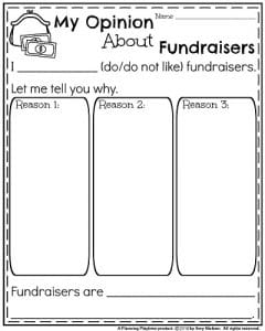 End of the Year Opinion Writing Prompts - My Opinion About Fundraisers