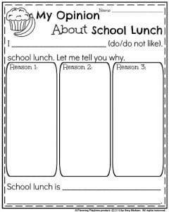 End of the Year Opinion Writing Prompts - My Opinion About School Lunch