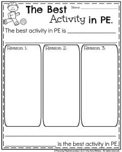 End of the Year Opinion Writing Prompts - The Best Activity in PE.