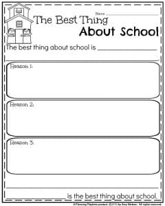 End of the Year Opinion Writing Prompts - The Best Thing About School.