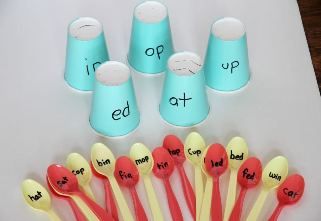 Word Families Reading Activity With Spoons