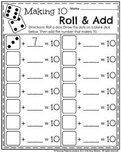 kindergarten worksheets for may  planning playtime kindergarten math and literacy printables  kindergarten math worksheets  for may  making  roll and add