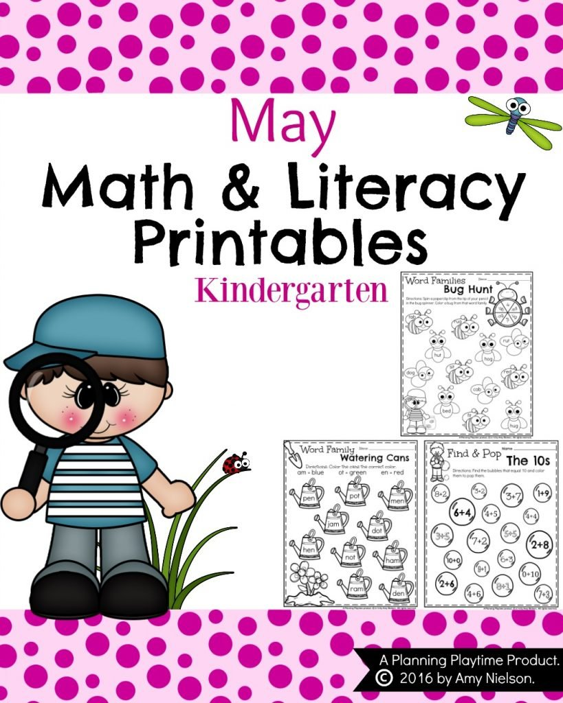 Kindergarten Math and Literacy Printables Preview