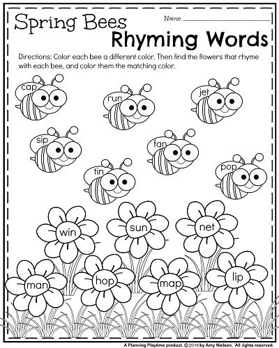 Kindergarten Rhyming Words Worksheet.