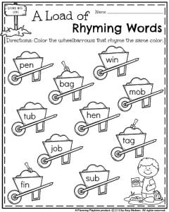 Kindergarten Rhyming Words Worksheets for May.