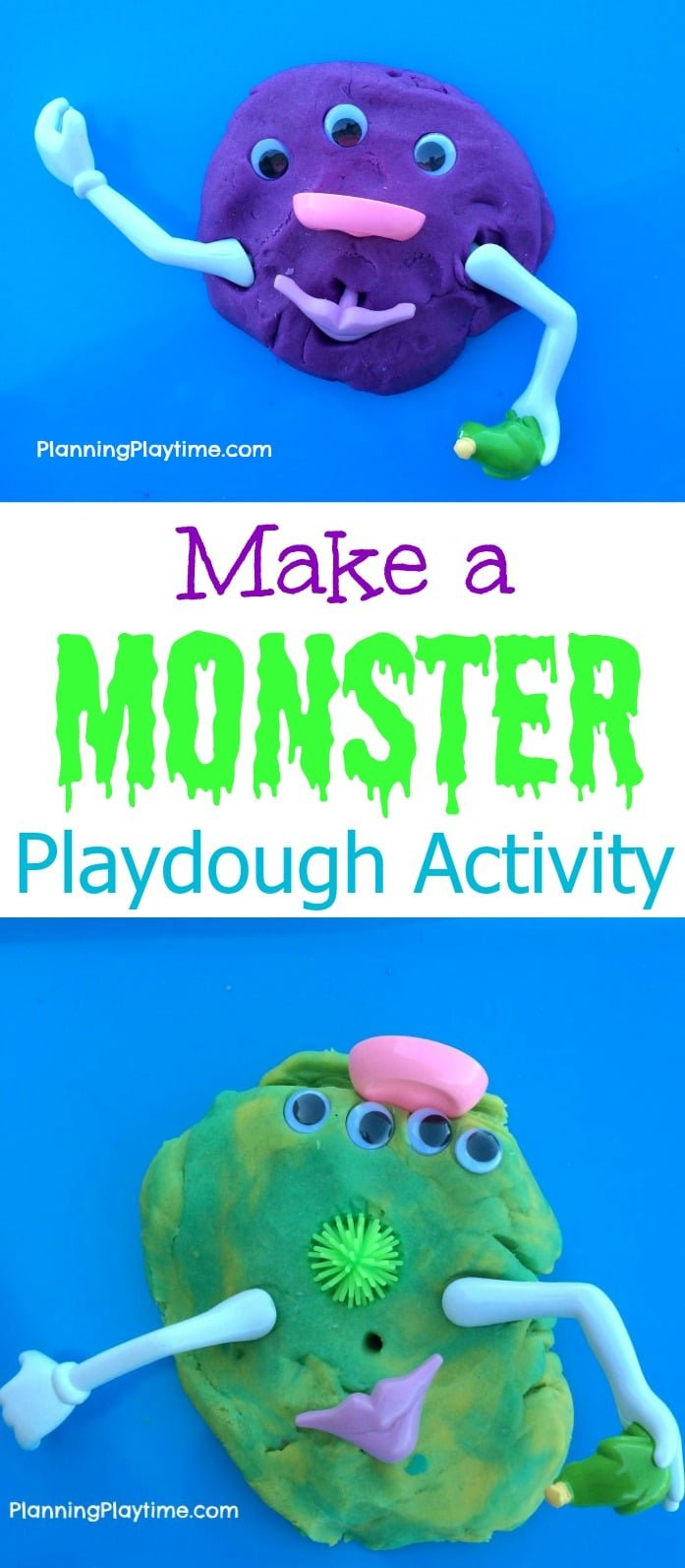 Make a Monster Playdough activtiy for toddlers.