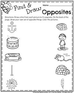 May Kindergarten Worksheets - Antonyms (Opposites)