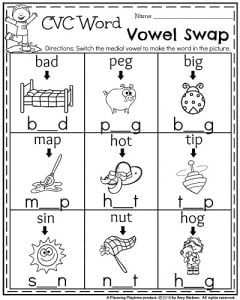 kindergarten worksheets for may  planning playtime kindergarten math and literacy printables  may kindergarten worksheets   cvc word vowel swap